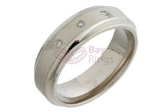 Three Diamonds Set Titanium Ring
