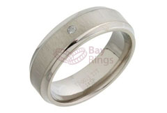 Diamond Set Flat Court Shape Titanium Ring