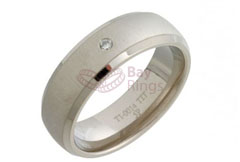 Diamond Set Court Shape Titanium Ring