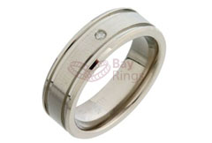 Diamond Set Double Grooved Titanium Ring