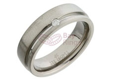 Diamond Set Grooved Titanium Ring | Diamond Set Grooved Titanium Ring