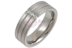 Three Diamonds Tension Set Grooved Titanium Ring | Diamond Set Grooved Titanium Ring