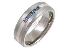 Titanium Ring Silver Inlaid Five Blue Sapphire Stones
