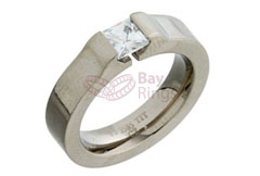Square CZ Stone Set Titanium Ring