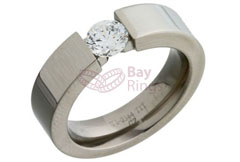CZ Single Stone Set Titanium Ring