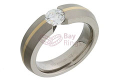 Titanium Ring Gold Inlaid CZ Set