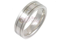 Titanium Ring Silver Inlaid Three CZ Stones