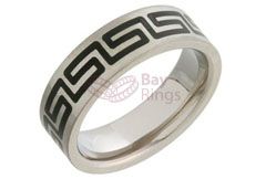 Enamelled Grecian Design Titanium Ring