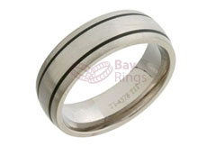 Black Enamel Stripes Brushed Wedding Band Ring