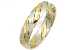 9ct Yellow & White Gold Patterned Twist Rings