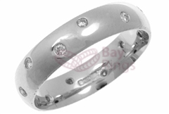 18ct White Gold Twelve Scattered Diamonds Wedding Rings