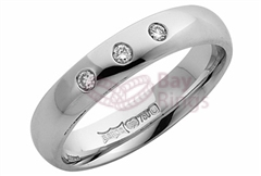 18ct White Gold Three Diamonds Wedding Rings