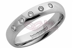 18ct White Gold Five Diamonds Wedding Rings