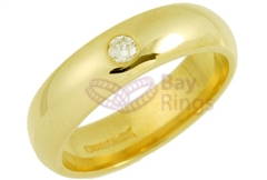 18ct Yellow Gold 0.10ct Brilliant Cut Diamond Wedding Rings