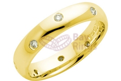 18ct Yellow Gold Twelve Scattered Diamonds Wedding Rings
