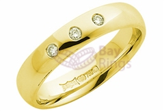 18ct Yellow Gold Three Diamonds Wedding Rings