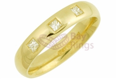 18ct Yellow Gold 0.15ct Princess Cut Diamonds Wedding Rings