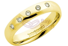 18ct Yellow Gold Five Diamonds Wedding Rings