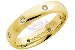 18ct Yellow Gold Eight Diamonds Wedding Rings