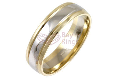 9ct/18ct Gold Two Tone Plain Wedding Rings | 9ct Gold Two Tone Plain Wedding Band