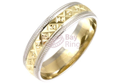 9ct18ct Gold Two Tone Diamond Cut Wedding Rings 9ct Gold Two Tone
