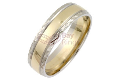 9ct/18ct Gold Two Tone Diamond Cut Edge Wedding Rings | 9ct Gold Two Tone Diamond Cut Wedding Band