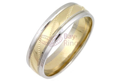 9ct/18ct Gold Two Tone Patterned Wedding Rings | 9ct Gold Two Tone Diamond Cut Wedding Band