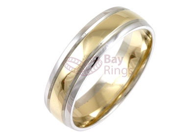 9ct/18ct Gold Two Tone Plain Wedding Rings | 9ct Gold Two Tone Plain Wedding Ring