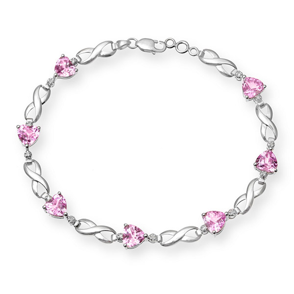 9ct White Gold Created Pink Sapphire and Diamond Crossover Bracelet