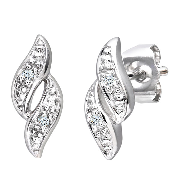 9ct White Gold Pave Set Diamond Earrings