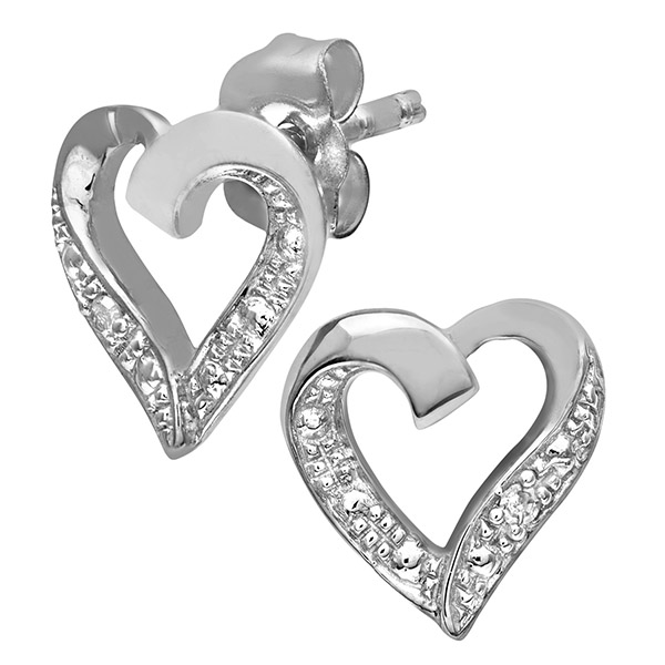 9ct White Gold Diamond Heart Earrings