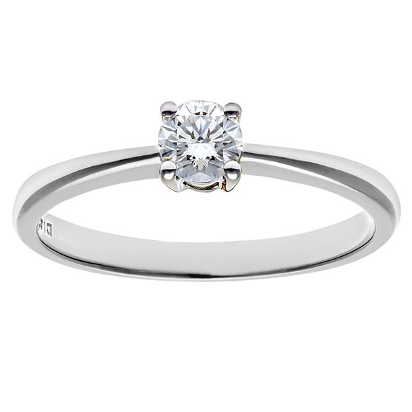 Engagement Ring, 9ct White Gold 0.25ct Round Brilliant Certified Diamond Ring