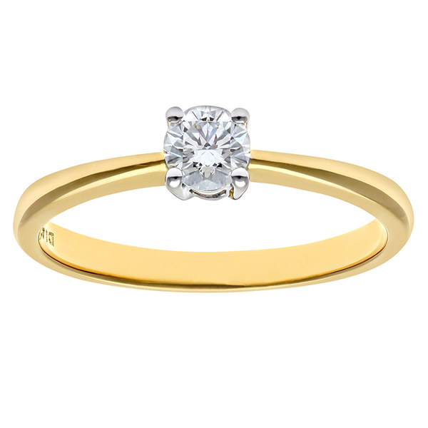 Engagement Ring, 9ct Yellow Gold 0.25ct Round Brilliant Certified Diamond Ring