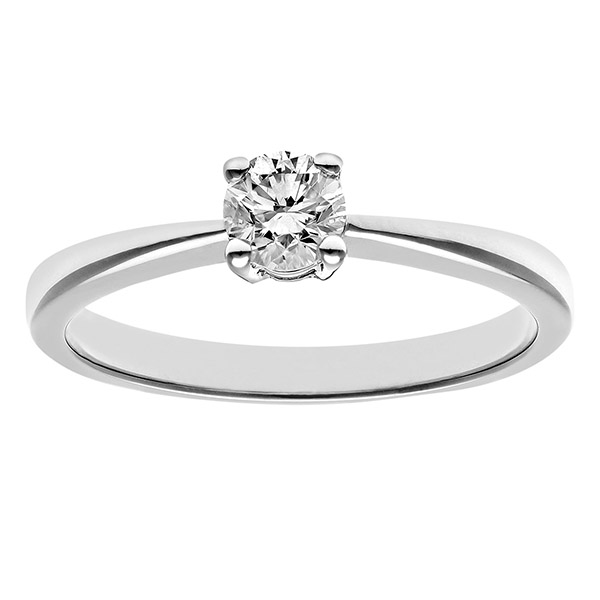 Engagement Ring, 9ct White Gold 0.33ct Round Brilliant Certified Diamond Ring