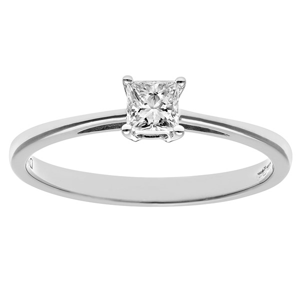 Engagement Ring, 18ct White Gold 0.25ct Certified Princess Cut Diamond Ring