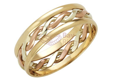 9ct  3 Colour Gold Handmade Celtic Ring | 9ct 3 Colour Celtic Ring