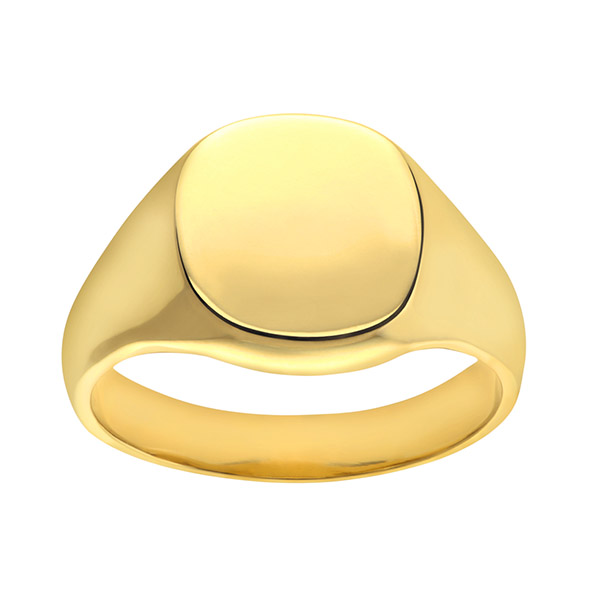 a14141c04d471 Mens Cushion Signet Ring | Mens 9ct Yellow Gold Extra Heavy Plain ...