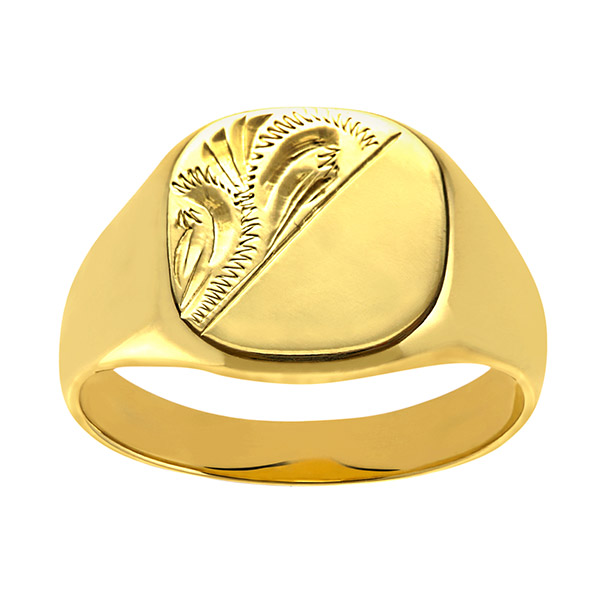 Mens Engraved Cushion Signet Ring | Gents 9ct Yellow Gold Heavy Engraved Cushion Signet Ring