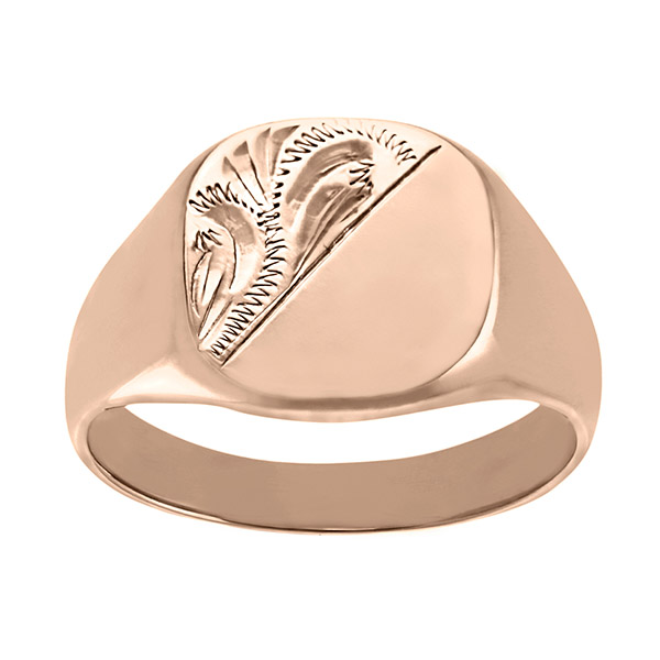 Men's Solid Engraved Cushion  9ct Rose Gold Signet Ring | Gents 9ct Rose Gold Heavy Engraved Cushion Signet Ring