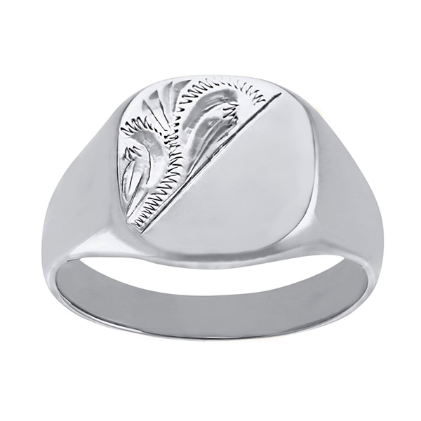 Mens Engraved Cushion White Gold Signet Ring | Gents 9ct White Gold Heavy Engraved Cushion Signet Ring