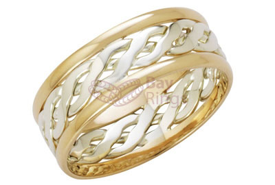 9ct Two Tone Gold  Handmade Celtic Ring | 9ct White & Yellow Gold Celtic Ring