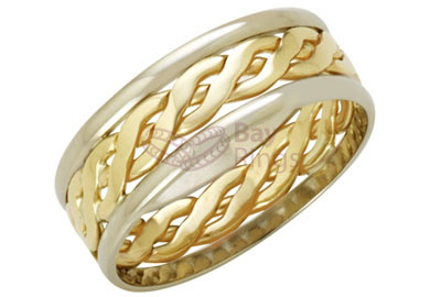 9ct Two Tone Gold  Handmade Celtic Ring | 9ct Yellow & White Gold Celtic Ring