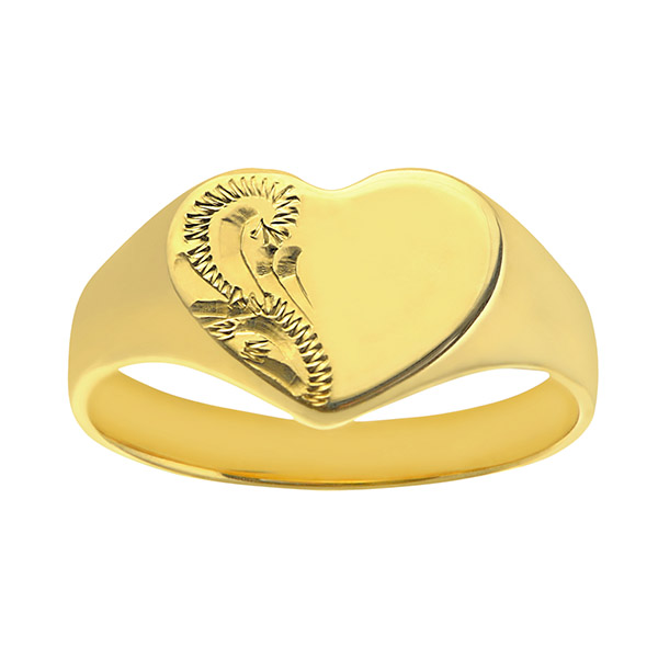 Solid 9ct Gold Ladies Engraved Heart Signet Ring | Solid 9ct Gold Ladies Engraved Heart Signet Ring
