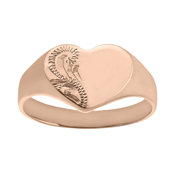 Solid 9ct Rose Gold Ladies Engraved Heart Ring | Ladies 9ct Rose Gold Engraved Heart Signet Ring