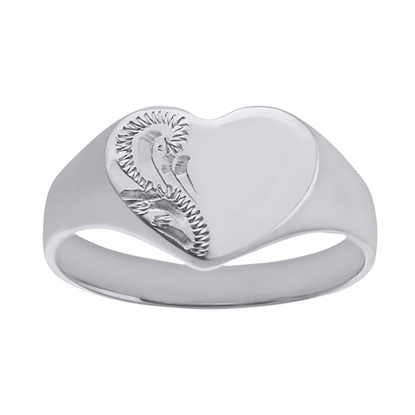 Ladies Solid Engraved Heart White Gold Signet Ring | Ladies Solid 9ct White Gold Engraved Heart Signet Ring