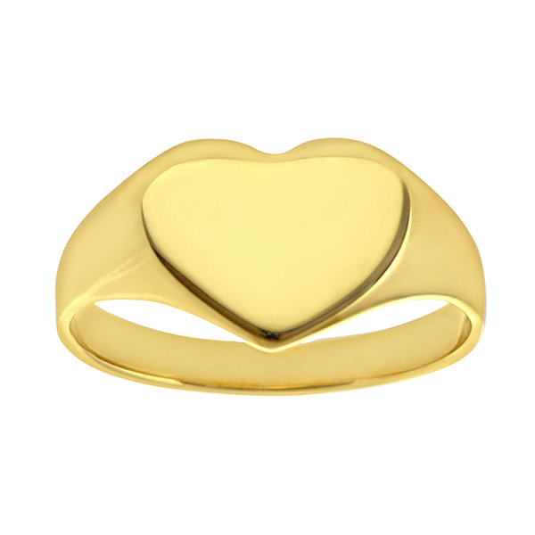 Engravable Solid 9ct  Gold Ladies Heart Signet Ring |  Engravable Solid 9ct  Gold Ladies Heart Signet Ring