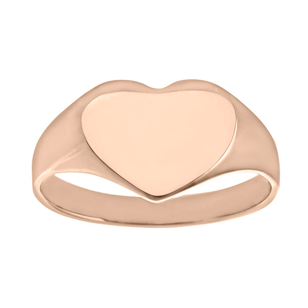 Engravable Solid 9ct Rose Gold Heart Signet Ring | Engravable Solid 9ct Rose Gold Heart Signet Ring