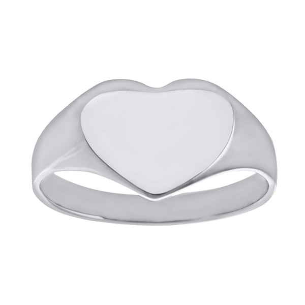Ladies Solid Heart 9ct White Gold Signet Ring | Ladies 9ct White Gold Plain Heart Signet Ring