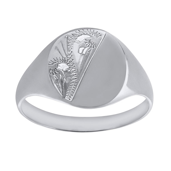 Ladies Solid Oval White Gold Signet Ring | Ladies 9ct White Gold Engraved Oval Signet Ring