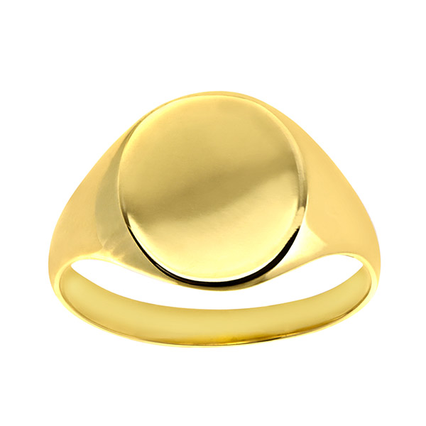 Engravable Ladies Solid  9ct Gold Ovel Signet Ring | Ladies 9ct Yellow Gold Plain Oval Signet Ring
